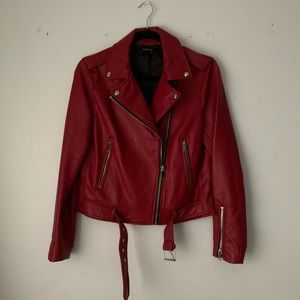 Zara | red leather jacket basic outerwear collect.